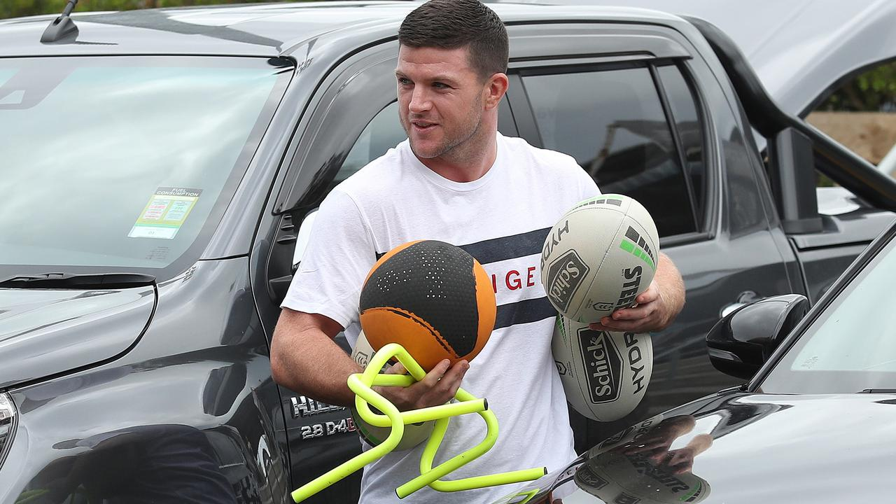 Chad Townsend and the Sharks team took home plenty of training equipment. Photo: Brett Costello