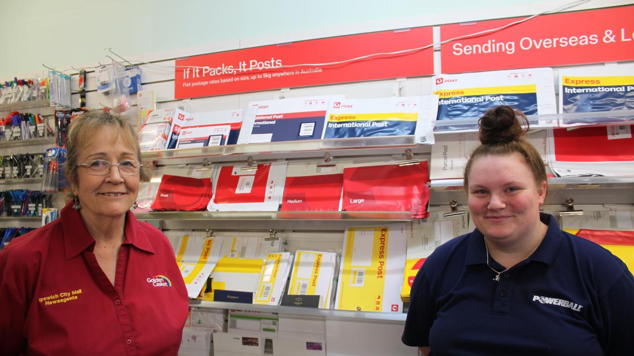 Ipswich City Mall Newsagency's Pauline Williamson and Mikala White