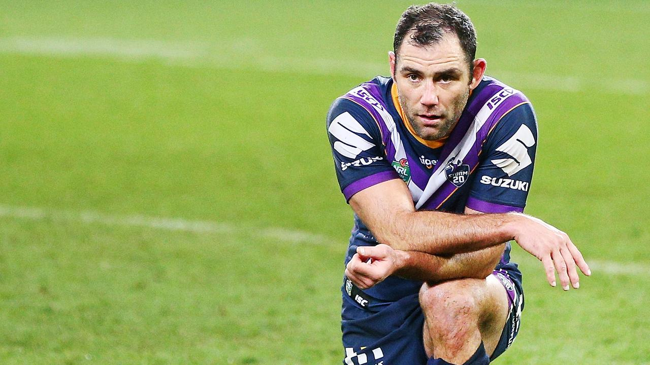 MELBOURNE, AUSTRALIA – AUGUST 31: Cameron Smith of the Storm look dejected after defeat after defeat during the round 25 NRL match between the Melbourne Storm and the Penrith Panthers at AAMI Park on August 31, 2018 in Melbourne, Australia. (Photo by Michael Dodge/Getty Images)