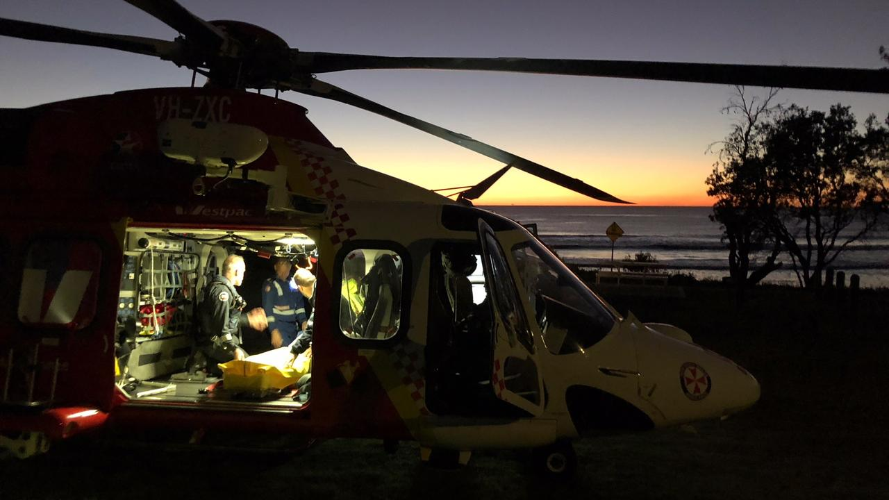 The Westpac Life Save Rescue Helicopter was called to Minnie Water this morning, after a young man suffered a five metre fall.