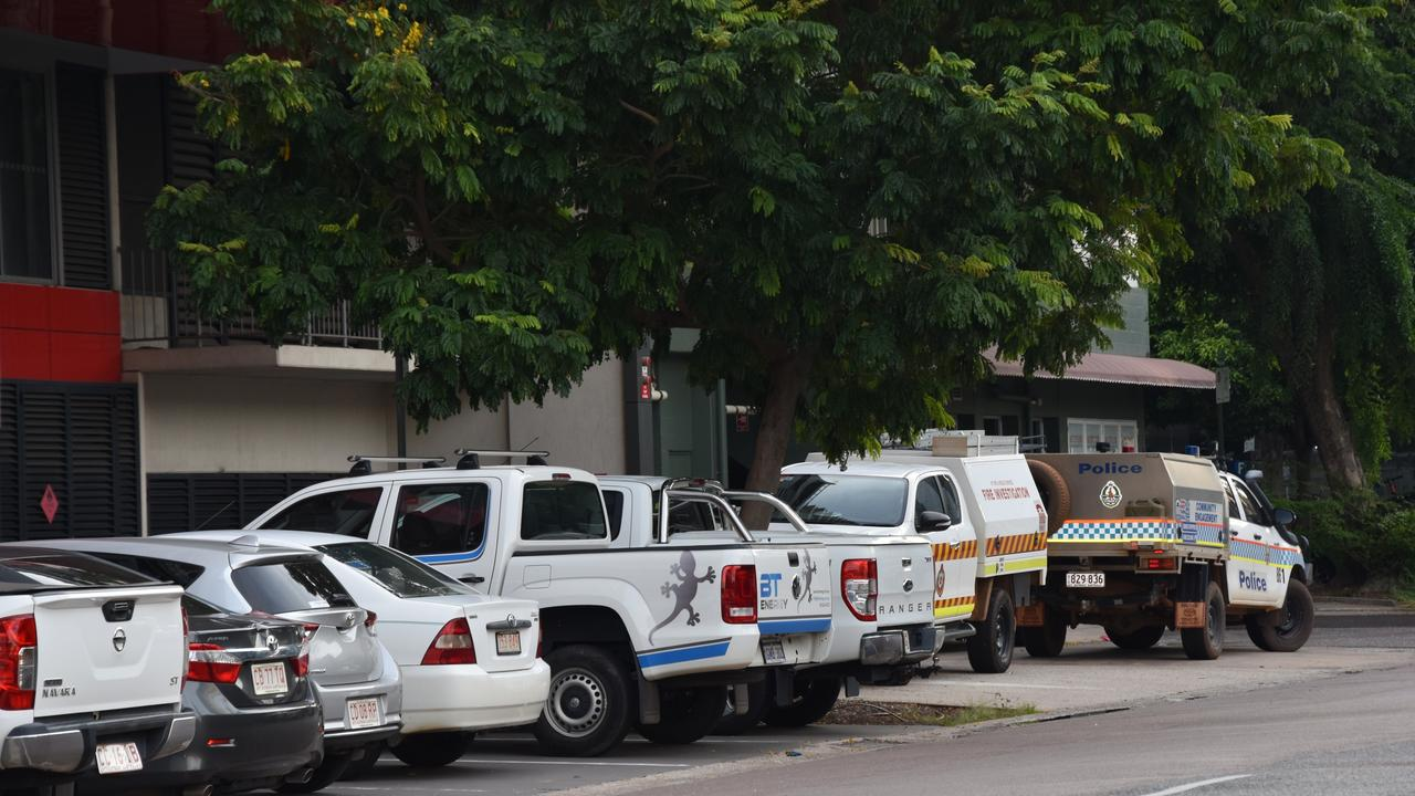 Emergency vehicles outside the Oaks Darwin Elan Hotel this afternoon.