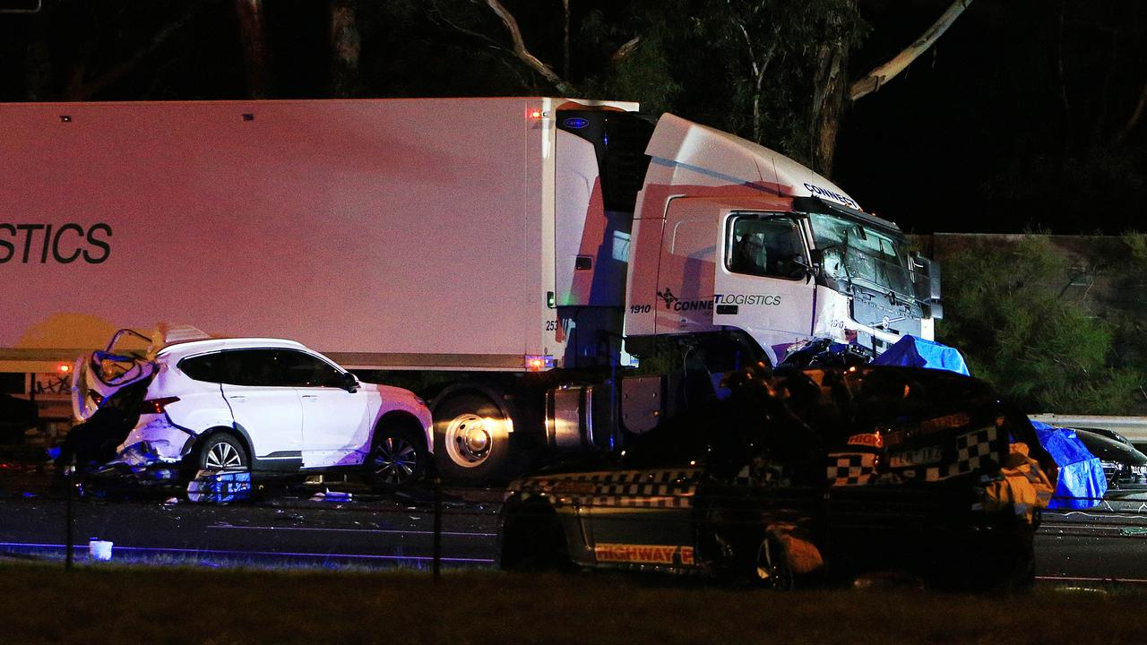 Four police officers died in the Eastern Freeway crash. Picture: Aaron Francis/The Australian