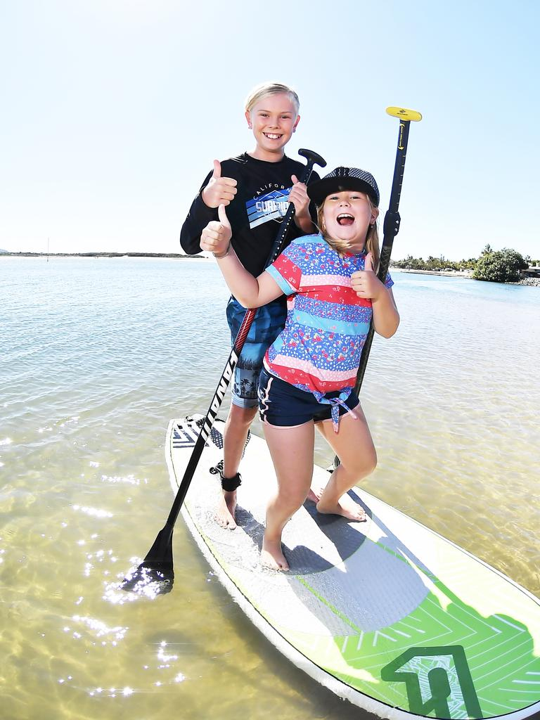 OUT AND ABOUT: With a relaxation of coronavirus rules people were enjoying the beautiful weather at Cotton Tree. Pictured, Jack, 11, and Ella Urquhart, 8. Photo Patrick Woods / Sunshine Coast Daily.