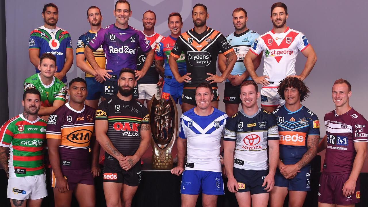 The NRL captains at the season launch.