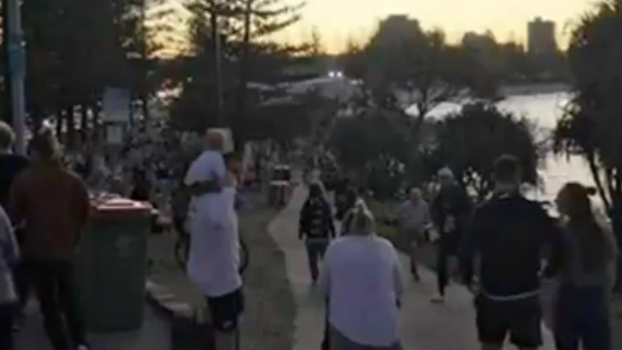 A sea of people at Burleigh this evening. Picture: Nine News.