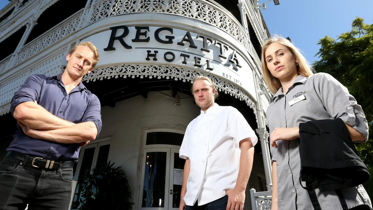 High and dry: Scott Vickers, Conor Stanbrook and Cindy Doyle from Brisbane's Regatta Hotel. Picture: Steve Pohlner