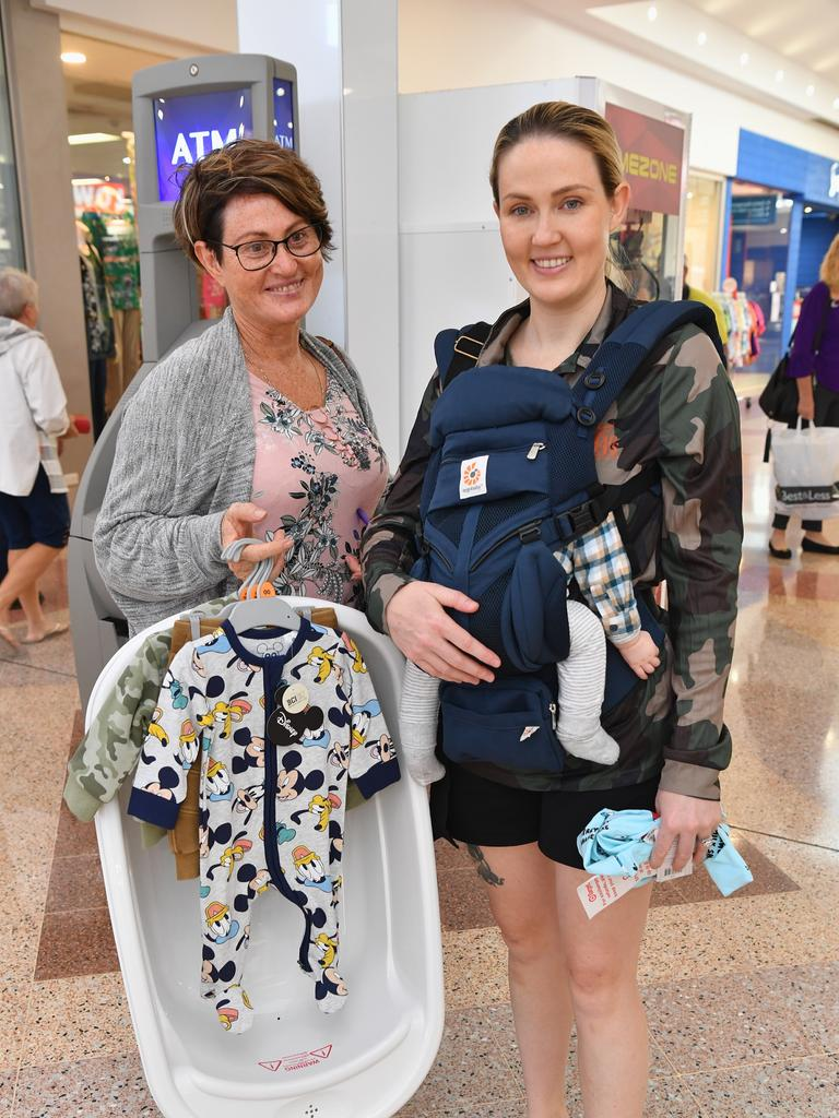 Shopping freedom for Hervey Bay's Leah Phillips and daughter Tahnee Lacey with baby supplies for 10 week old Maverick. Photo: Alistair Brightman