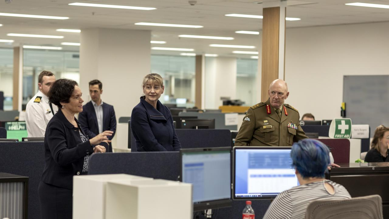 The Secretary of the Department of Social Services Kathryn Campbell and the Commander of the Defence COVID-19 taskforce Lieutenant General John Frewen. Picture: Defence
