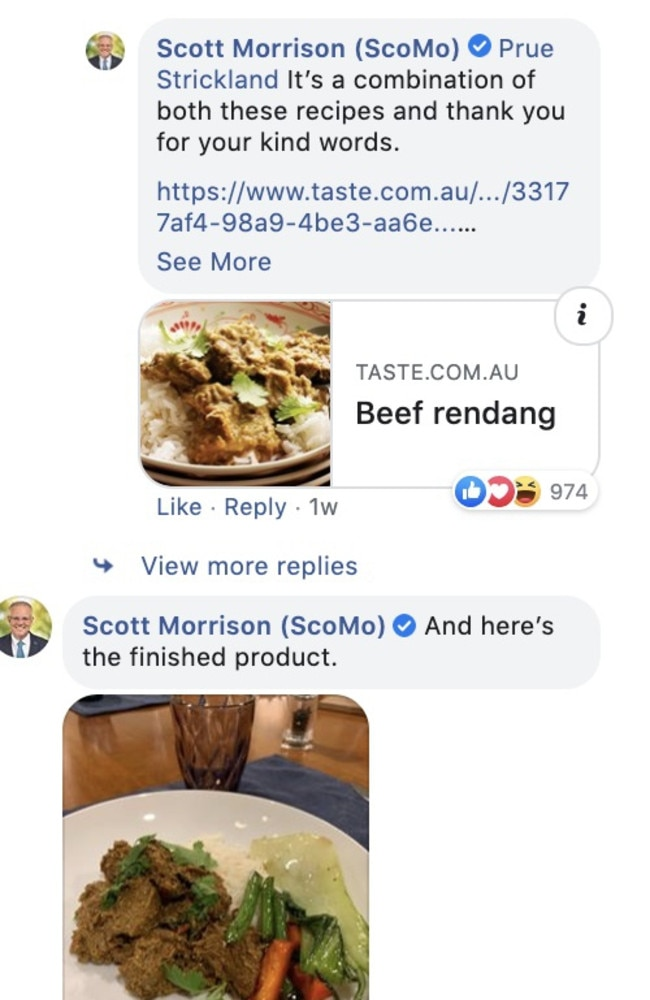 The Prime Minister's Beef Rendang dish, which he shared on Facebook.
