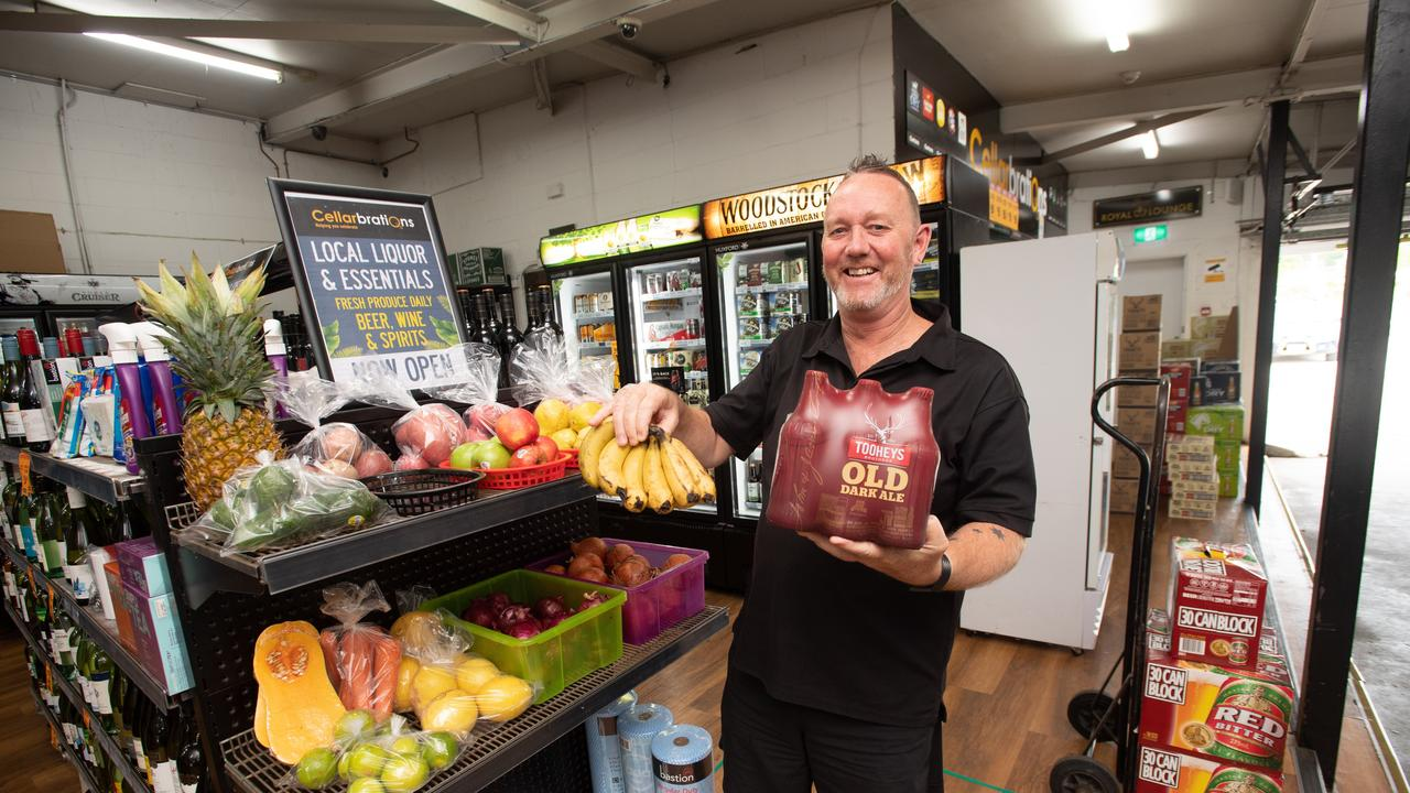 Doing business differently: Dale Neaves at the Toormina Hotel Drive through which is now selling a range of essential products.