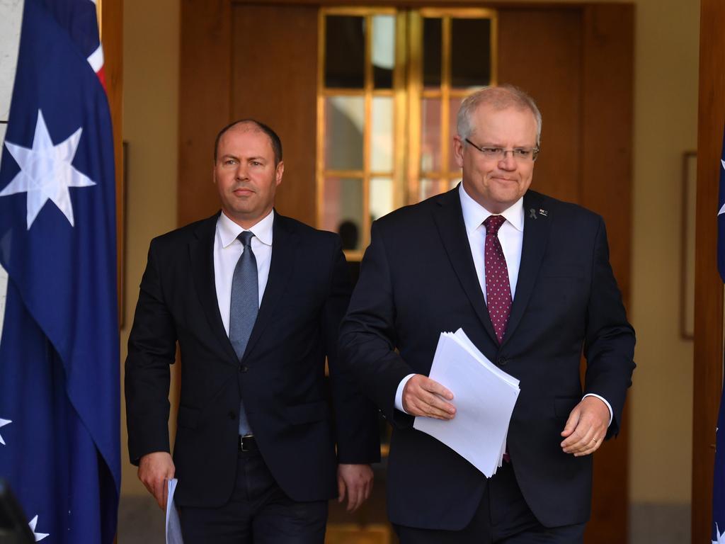 Treasurer Josh Frydenberg and Prime Minister Scott Morrison. Picture: Mick Tsikas