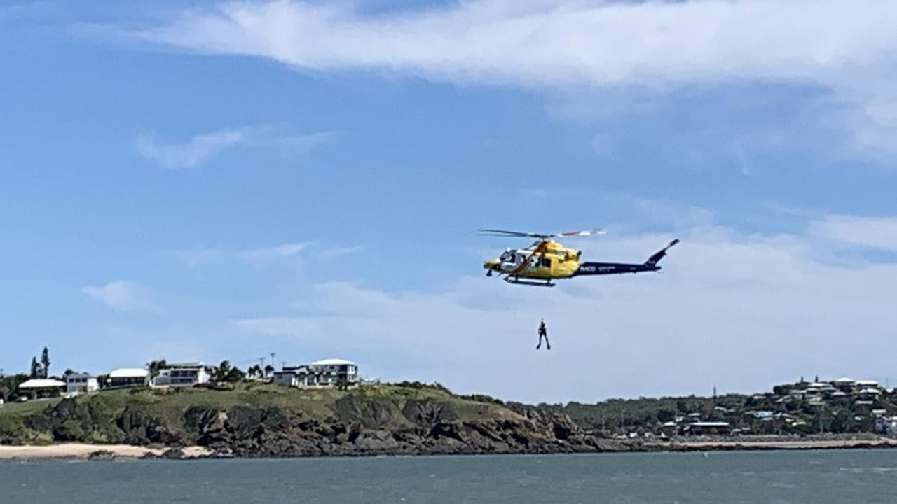 Coast Guard and RACQ Capricorn Rescue Helicopter training off Wreck Point, Yeppoon