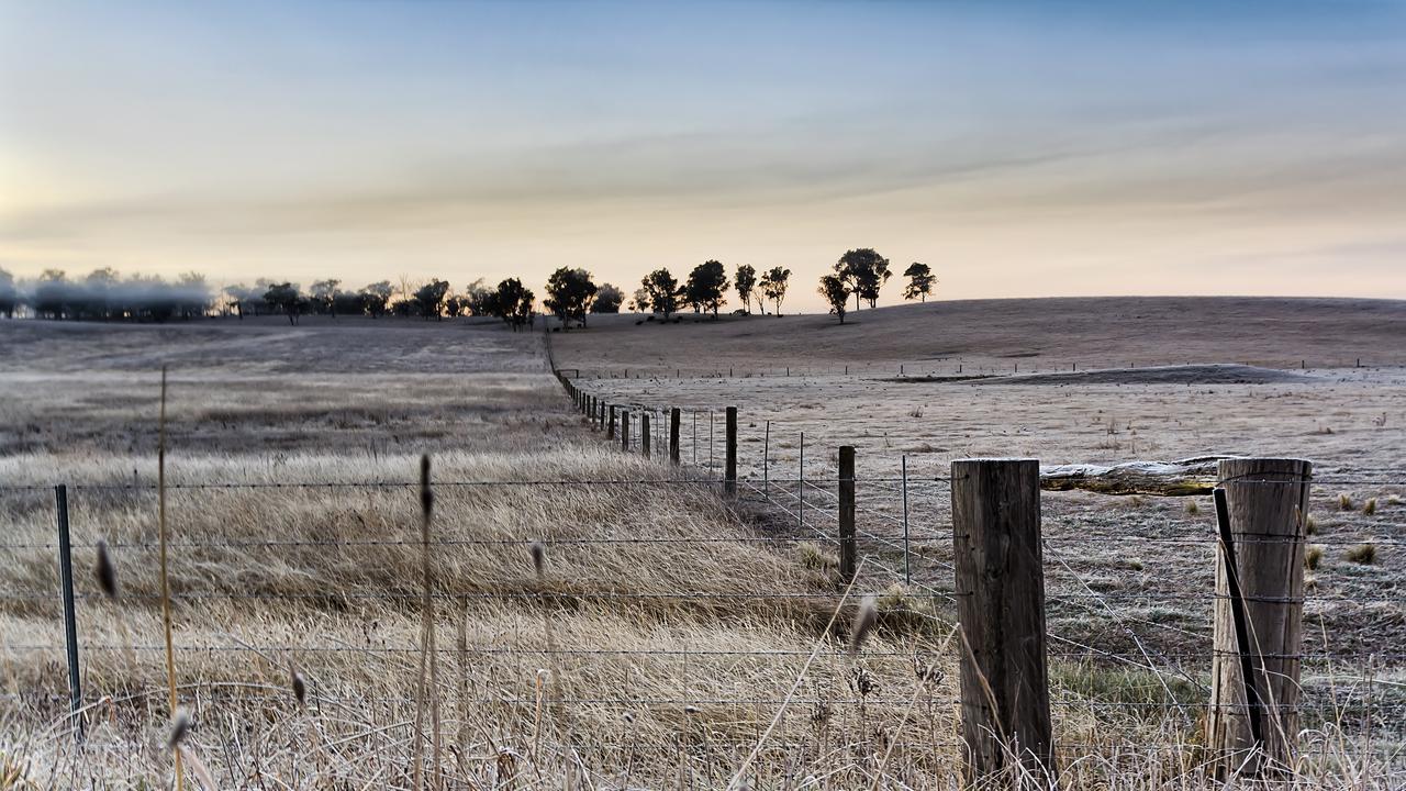 Farm in Australian Southern Highlands during winter season.