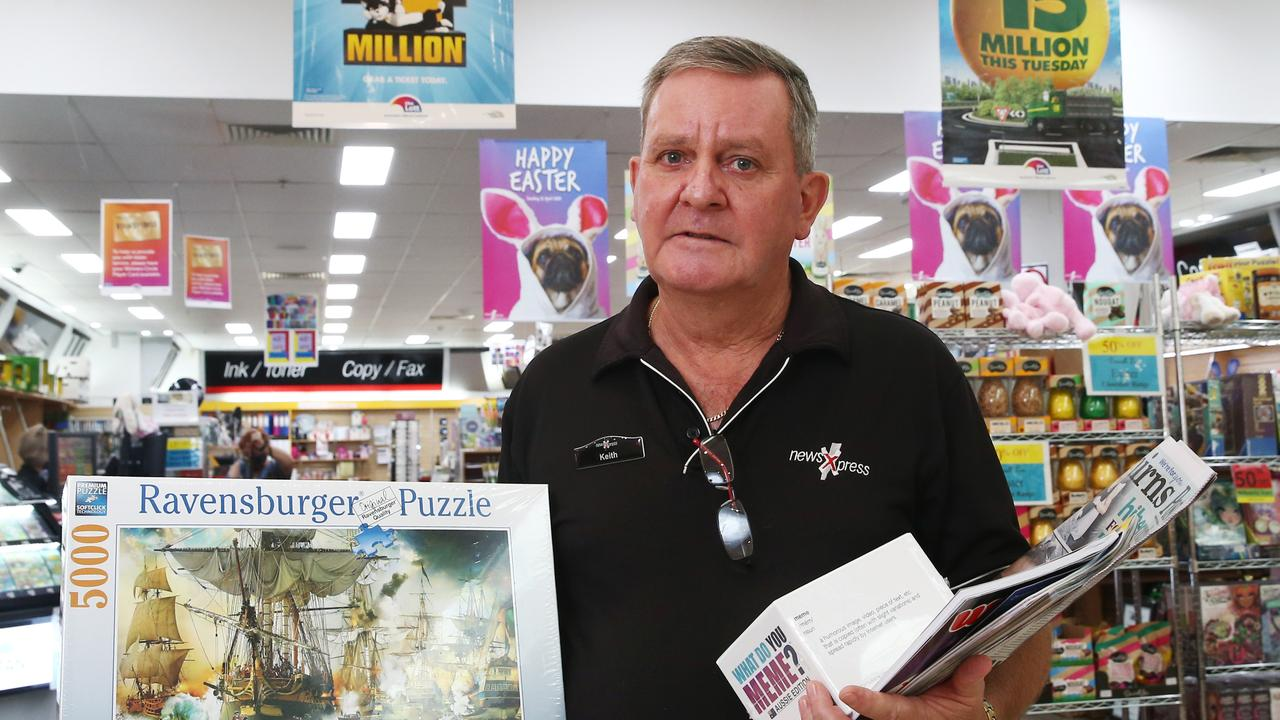 News Express Cairns Central co owner Keith Hamilton has seen sales drop at his newsagency by 40 percent as a result of the Coronavirus pandemic and government restrictions. He is urging Cairns locals to support local businesses. PICTURE: BRENDAN RADKE