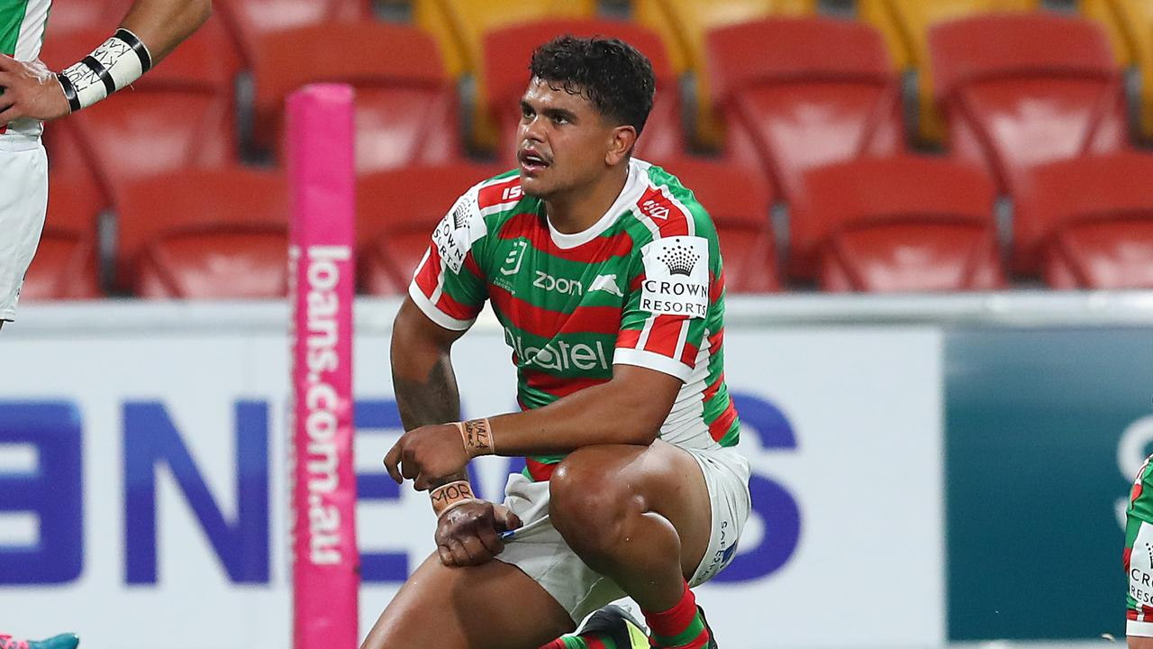 BRISBANE, AUSTRALIA - MARCH 20: Latrell Mitchell of the Rabbitohs reacts during the round 2 NRL match between the Brisbane Broncos and the South Sydney Rabbitohs at Suncorp Stadium on March 20, 2020 in Brisbane, Australia. (Photo by Jono Searle/Getty Images)