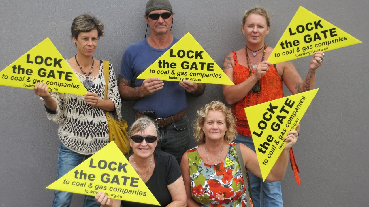 Lock the Gate Alliance has called for a full inquiry into the management of the rehabilitation bond. Pictured is Susan Benedik, Noel Bartley, Vicky Perrin, Penny Taylor and Sue Berry of Lock the Gate Alliance in Bundaberg.