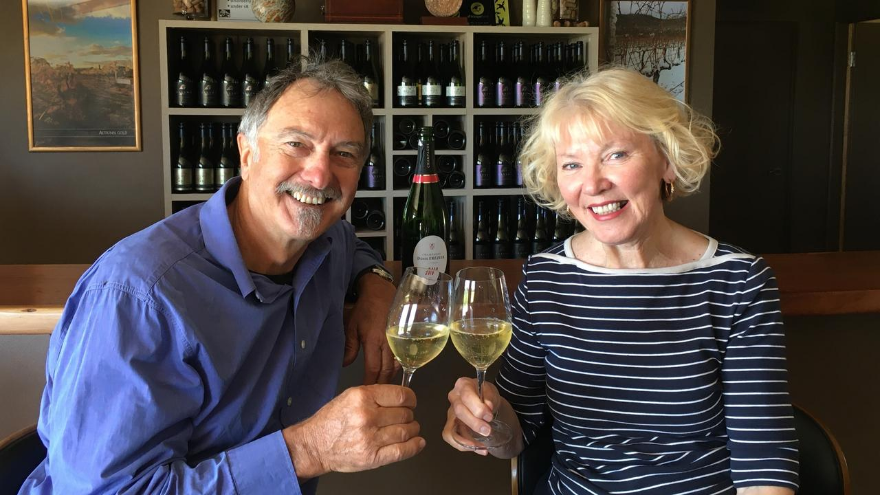 CHEERS: Savina Lane Wines owners Brad and Cheryl Hutchings are keeping a positive attitude during the coronavirus pandemic.