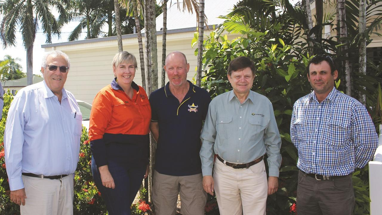 Sugar Research Australia CEO Roslyn Baker is pictured with Canegrowers chairman Paul Schembri, grower Chris Blackburn, Canegrowers Mackay CEO Kerry Latter and Mackay Area committee chairman Joseph Borg. Photo: Contributed