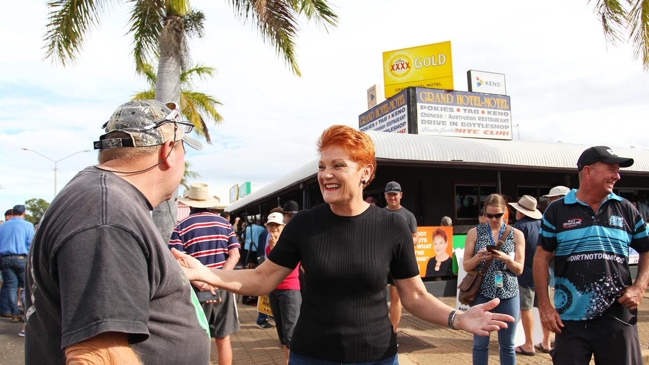 CLERMONT, AUSTRALIA – APRIL 27: One Nation Party leader, Pauline Hanson met locals and pro-Adani supporters as anti-Adani environment activists arrived by convoy on April 27, 2019 in Clermont. (Photo by Lisa Maree Williams)
