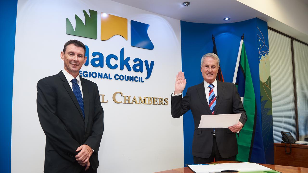 Mayor Greg Williamson is sworn in as mayor of Mackay Regional Council by CEO Craig Doyle.