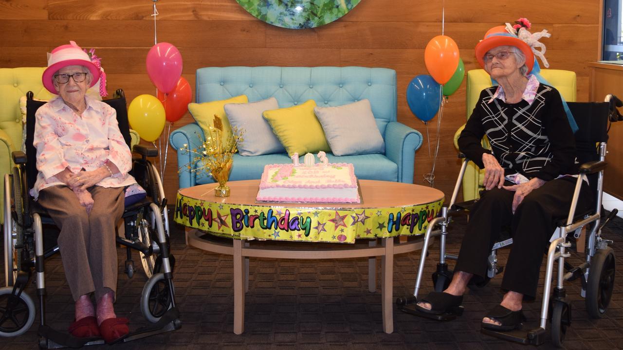 Kerisdale Gardens residents and 103rd 'birthday ladies' Olga Jackson and Florence 'Belle' Milligan.