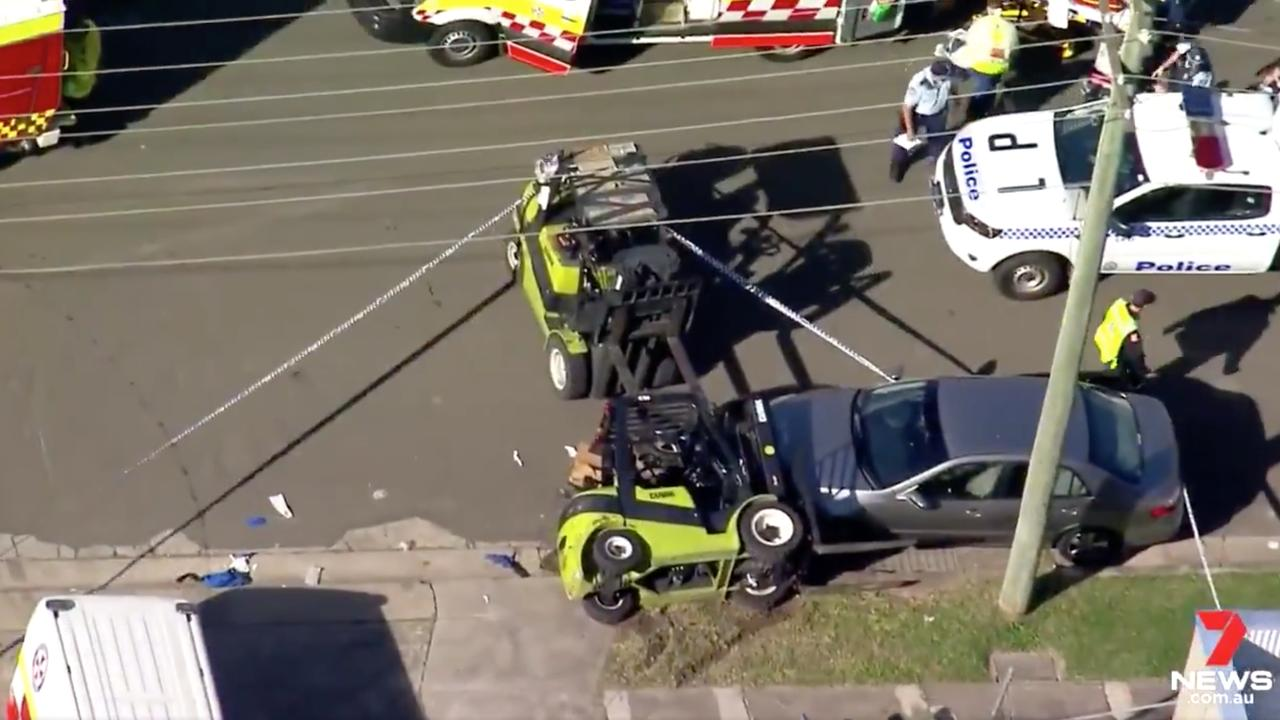 A warehouse worker operating a forklift has been fatally crushed by the vehicle in a workplace accident on Tuesday.