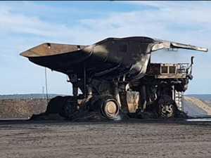 Truck burns to crisp on CQ mine