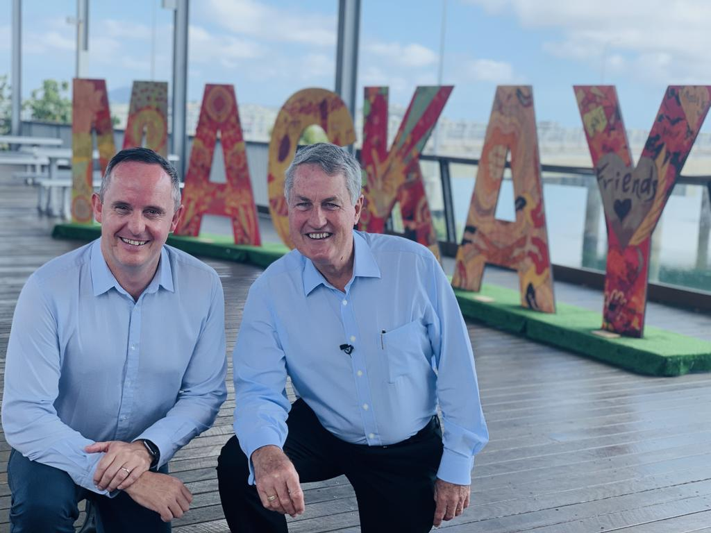 Mackay Tourism CEO Tas Webber pictured with Mackay mayor Greg Williamson.
