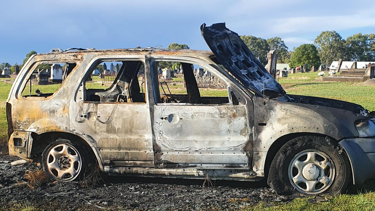 A car stolen Monday night from South Grafton ended up burned out hours later in the cemetary.