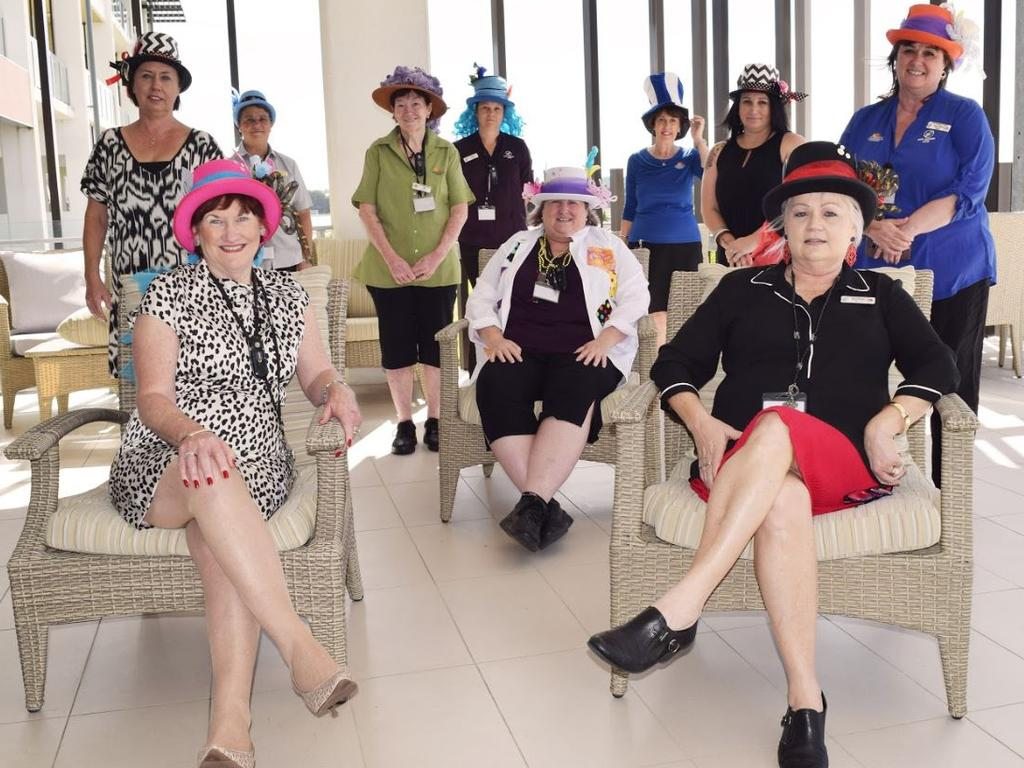Kerisdale Gardens staff dressed up in Mad Hatter theme to celebrate the 103rd birthday of two of the residents, Olga Jackson and Florence 'Belle' Milligan on Tuesday. Back row (from left): clinical coordinator Cheryl Lloyd, diversional therapy assistant Emma Jenkins and administrator Therese Nelson. Middle row (from left): environmental staff Ann MCann and Jill Spokes, diversional therapist Miche