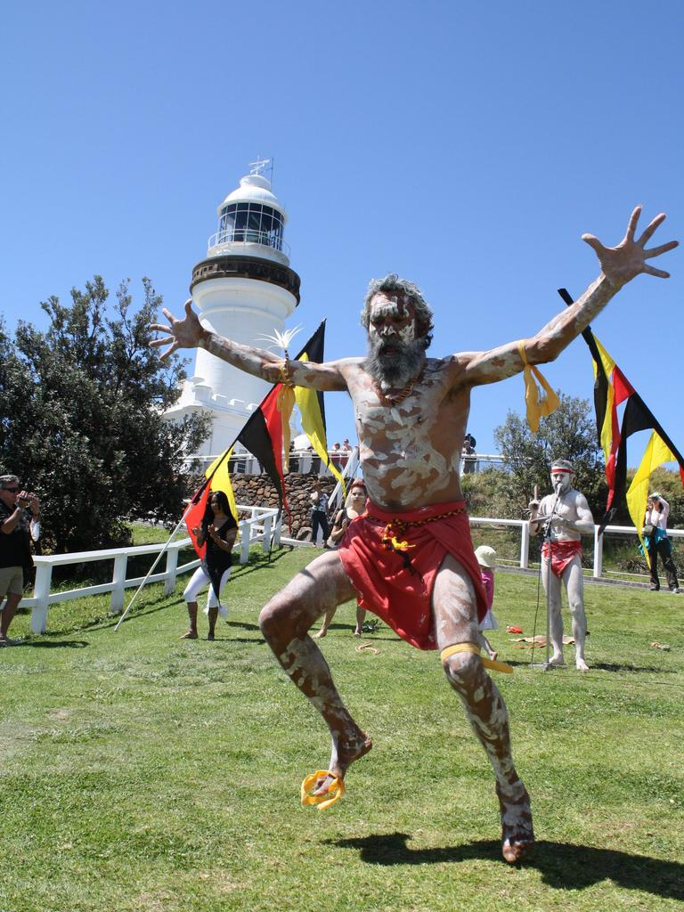 Uncle Pete (Jongala) from the Baygil Nali Jagun dancers performs at International Day of Older People 2011 at Cape Byron. Photo Contributed