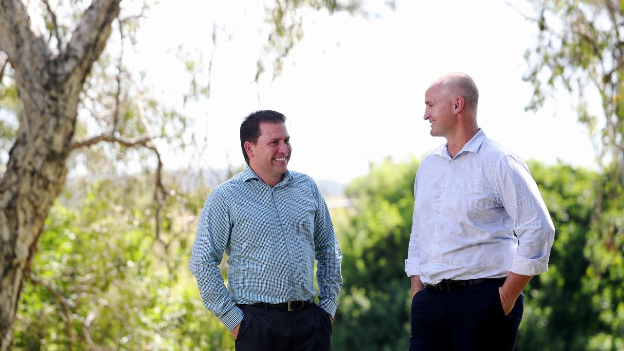 Gladstone Mayor Matt Burnett and Gladstone MP Glenn Butcher at Lions Park. Pics Tara Croser.