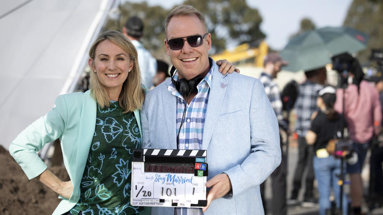 Lisa McCune and Peter Helliar on the set of How To Stay Married.