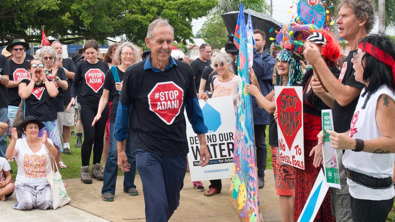 Bob Brown at the stop Adani rally in Mackay on Saturday 27 April 2019.