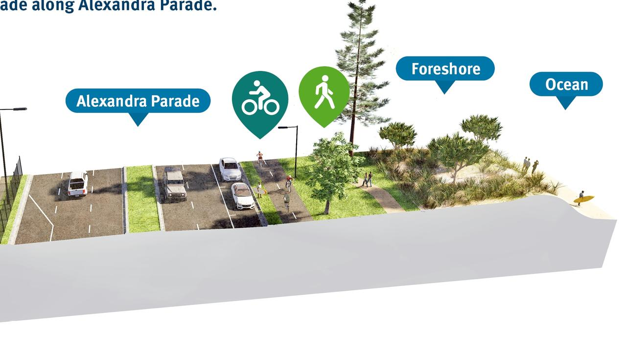 A snapshot of stage six of the M2M Cycleway along Alexandra Pde, which will ultimately help connect coastal areas of the Sunshine Coast.