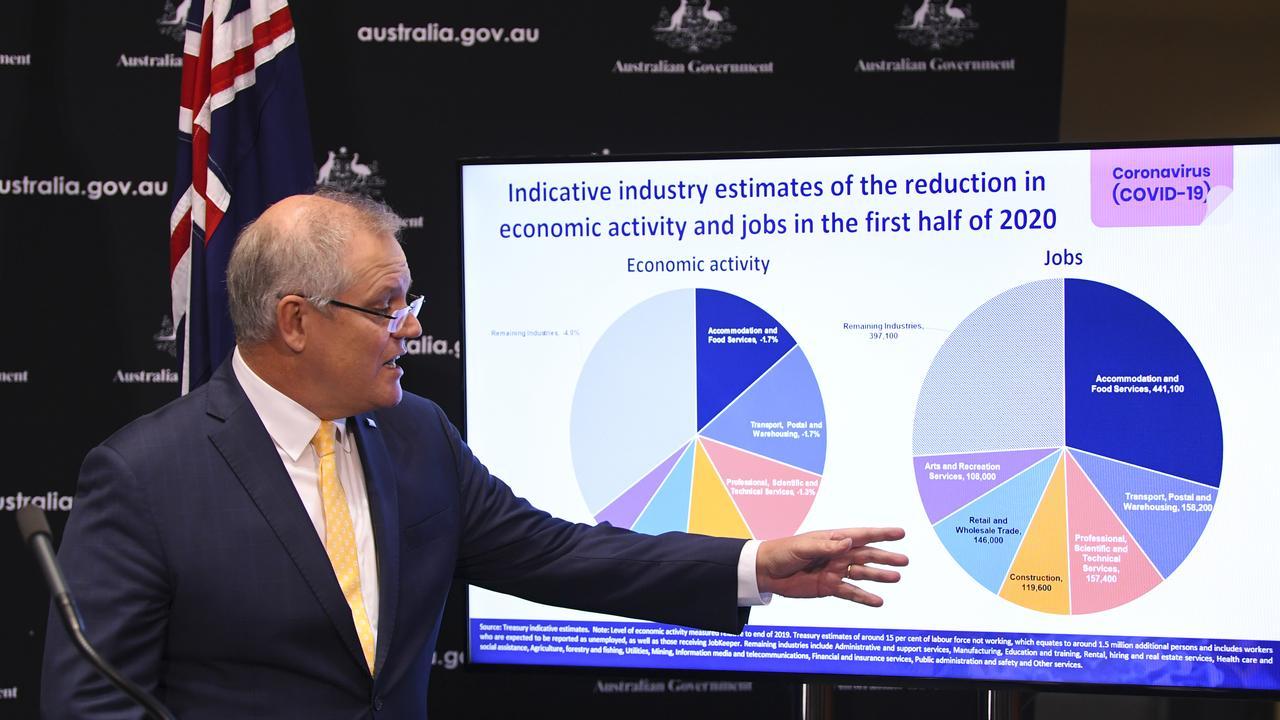 Prime Minister Scott Morrison details the economic costs of the coronavirus crisis. Picture: AAP