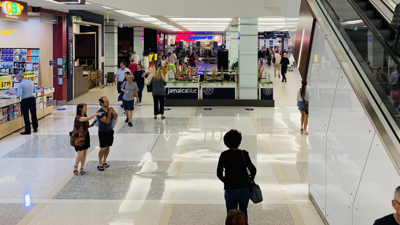 Shoppers at Indooroopilly Shopping Centre on Tuesday, May 5. Picture: Danielle O'Neal