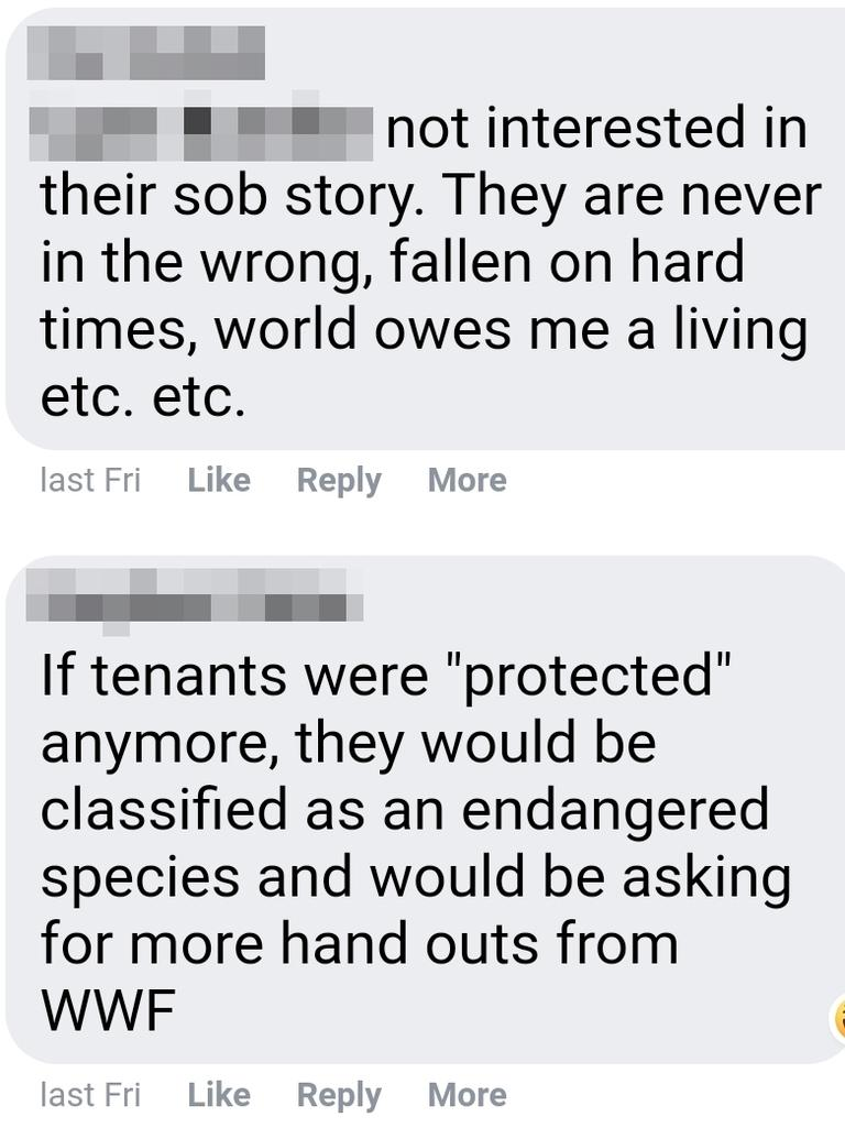 Screenshots of comments from landlords in the Landlords Tasmania group.