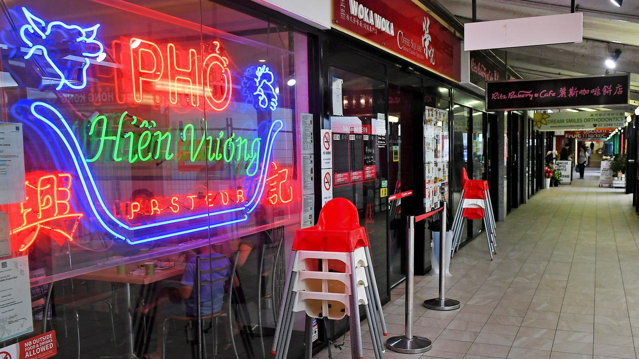 Empty Chinese restaurants at Market Square in Sunnybank. Picture: John Gass