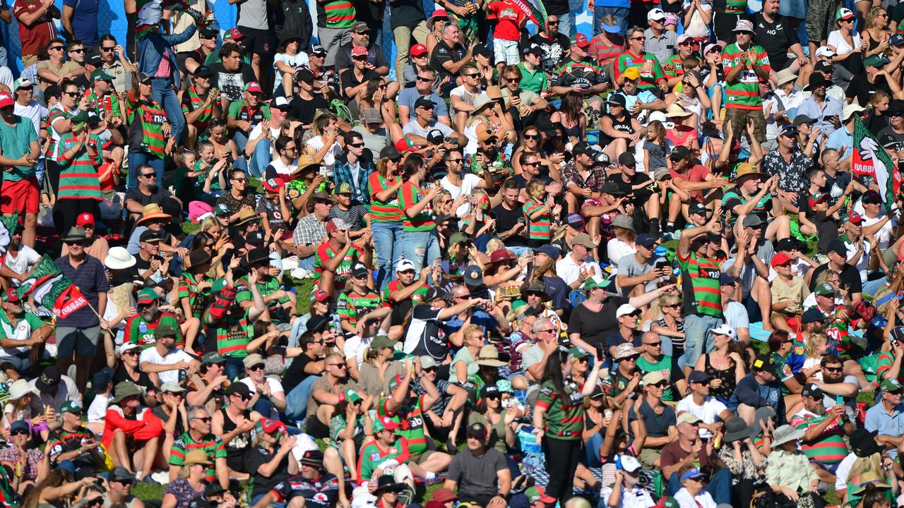 NRL action at Sunshine Coast Stadium between New Zealand Warriors and the South Sydney Rabbitohs, which saw a record crowd of 11,912.