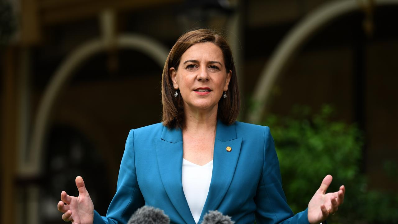 Queensland Opposition Leader Deb Frecklington is seen during a press conference at Parliament House in Brisbane, Tuesday, April 28, 2020. (AAP Image/Dan Peled) NO ARCHIVING