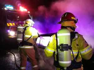 Fire crews called out to burning car on highway