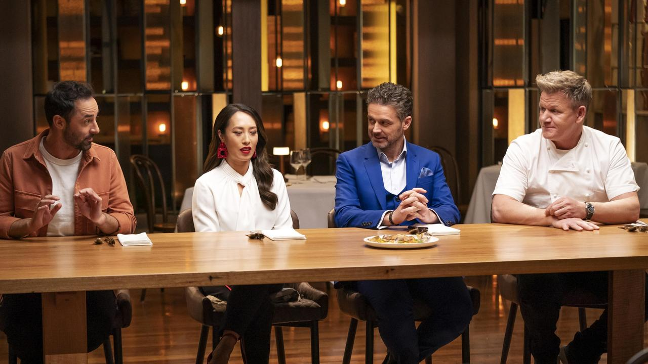 Gordon Ramsay (right) with the MasterChef judges. Picture: Channel 10