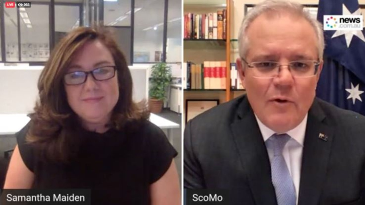 Scott Morrison speaking to news.com.au political editor Samantha Maiden. Picture: news.com.au