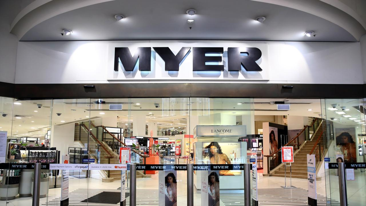 Department store Myer closed its stores and stood down 10,000 staff in March. Picture: Toby Zerna