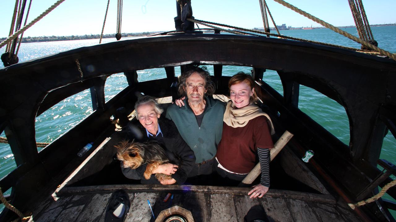 BACK AGAIN: Felicite and Graeme Wylie (pictured with Teagan Rose) are passing through Yeppoon's waters as they postpone plans to dock.