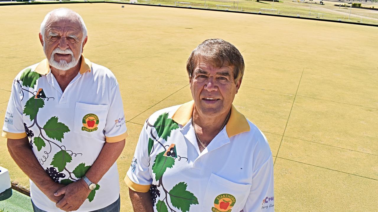Ernie Jones and Lennie Girgenti from Stanthorpe Bowls Club.