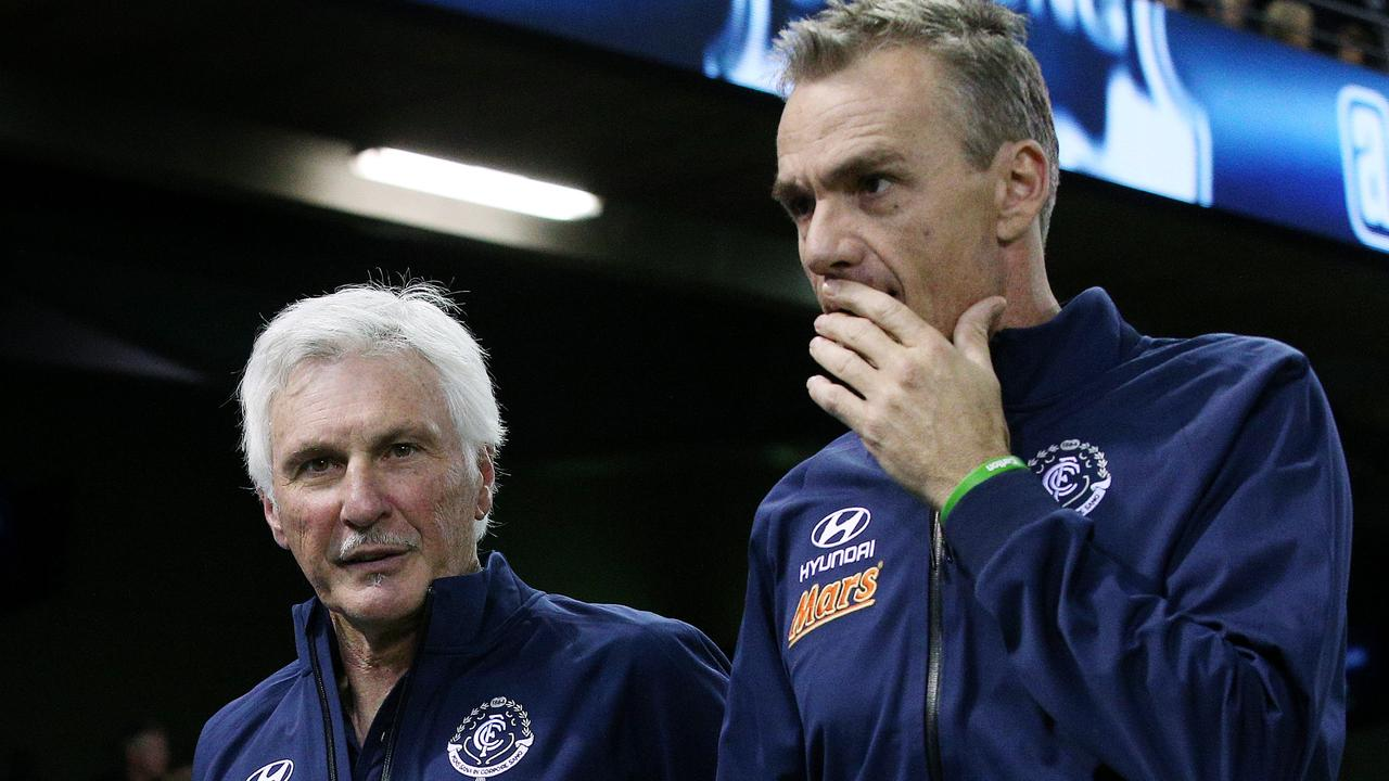 Carlton coach Mick Malthouse with assistant coach Dean Laidley. Picture: Colleen Petch