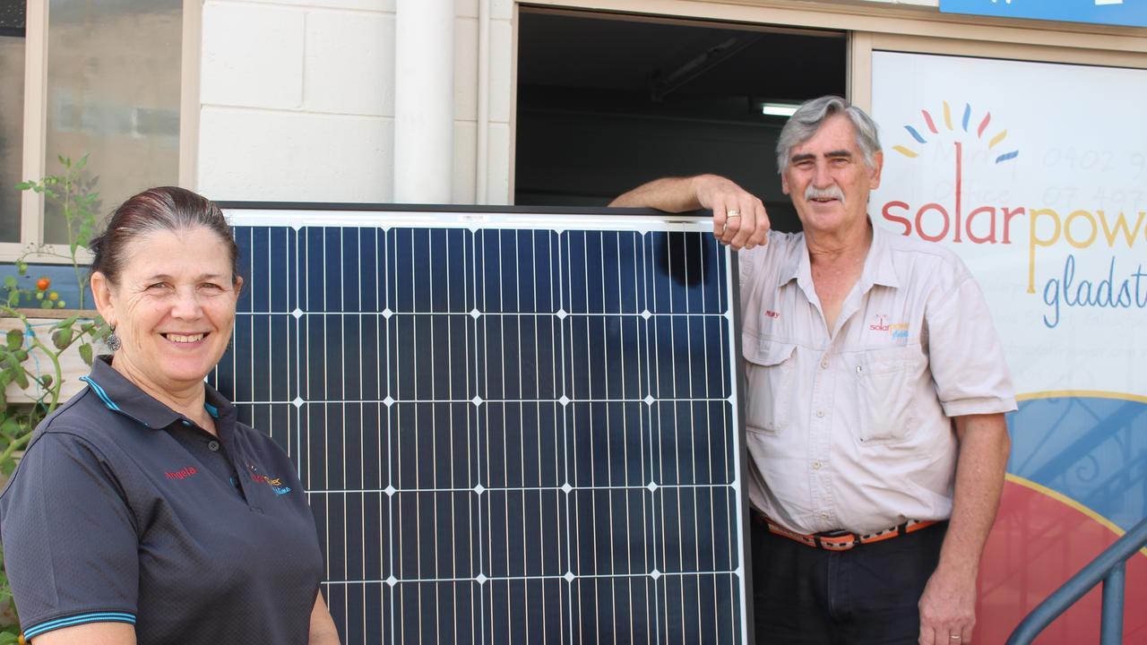 Angela Sophios and Murray Kay celebrating 10 years of Solar Power Gladstone.