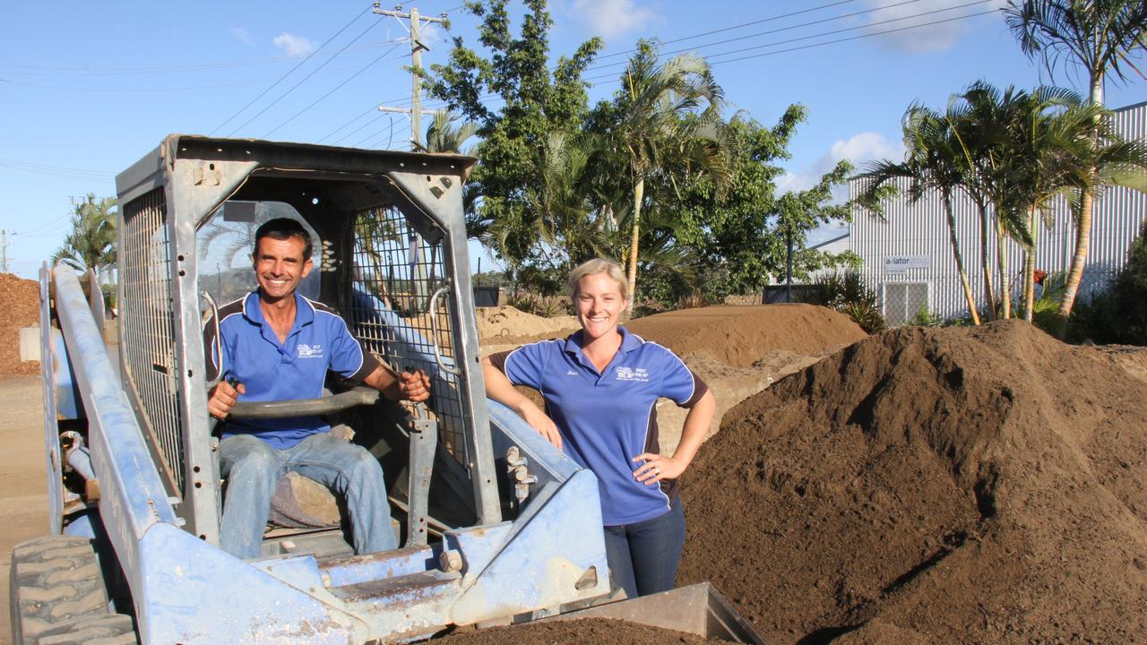 Dirt Cheap Landscaping Supplies owner Camilo Savariz and office manager Jodi Dyer have been extremely busy during Gladstone's renovation revolution. Picture: Rodney Stevens
